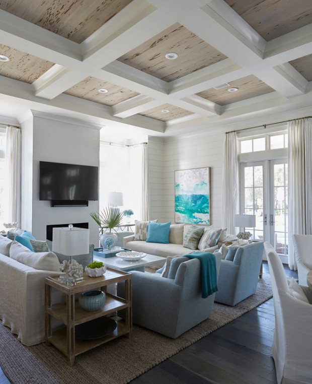 living-room-rustic-coffered-ceiling-with-pecky-cypress-wood