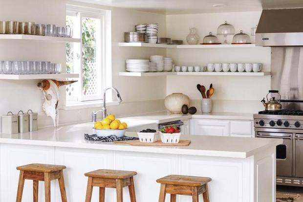 wraparound-floating-kitchen-shelves-rustic-country-stools-viking-hood