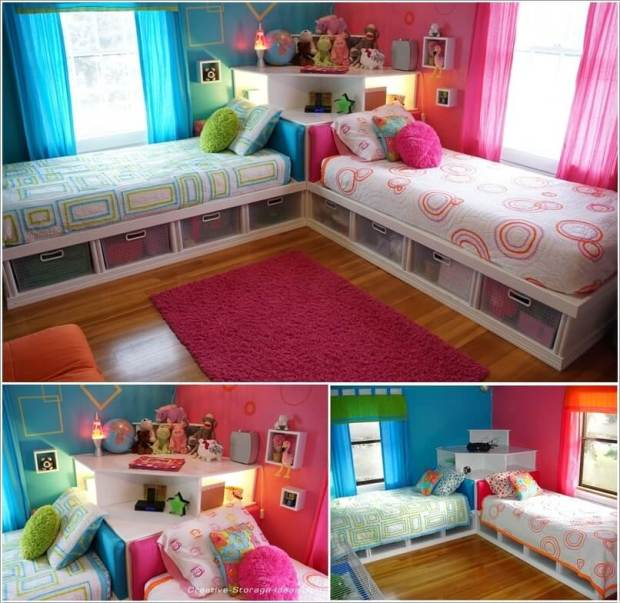 21 Creative Accent Wall Ideas For Trendy Kids Bedrooms: Amazing 2 Single Beds Room Ideas